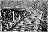 Broken section of Gilahina trestle. Wrangell-St Elias National Park ( black and white)