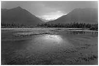 Storm light on lake. Wrangell-St Elias National Park, Alaska, USA. (black and white)