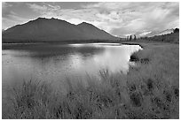 Clearing storm on lake. Wrangell-St Elias National Park ( black and white)
