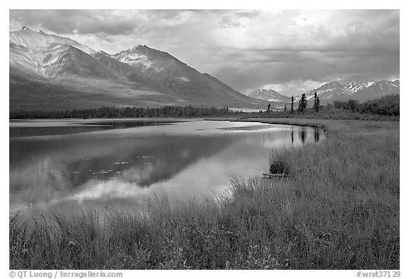 Mountains reflected in lake. Wrangell-St Elias National Park (black and white)