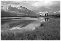 Mountains reflected in lake. Wrangell-St Elias National Park, Alaska, USA. (black and white)
