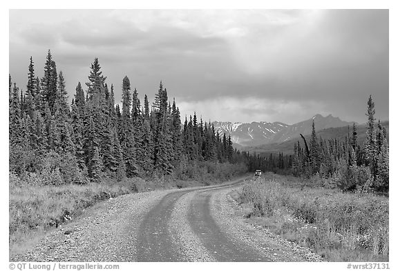 McCarthy road with vehicle approaching in the distance. Wrangell-St Elias National Park (black and white)
