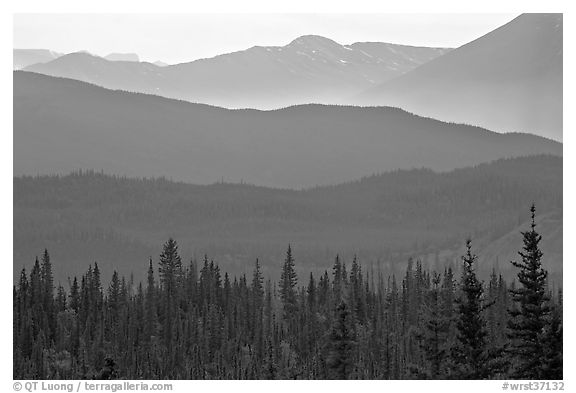 Distant mountain ridges. Wrangell-St Elias National Park (black and white)