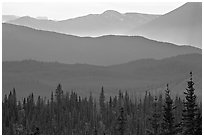 Distant mountain ridges. Wrangell-St Elias National Park, Alaska, USA. (black and white)