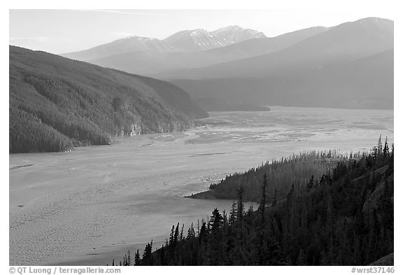 Chitina River and Chugach Mountains, late afternoon. Wrangell-St Elias National Park (black and white)