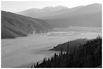 Chitina River and Chugach Mountains, late afternoon. Wrangell-St Elias National Park, Alaska, USA. (black and white)