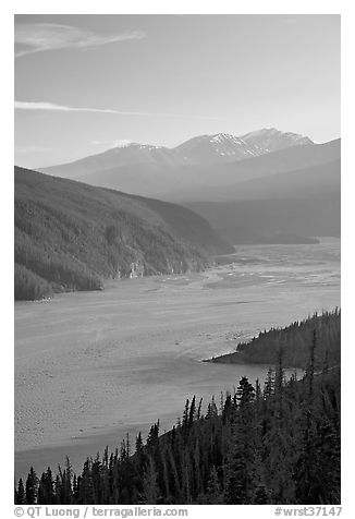 Wide Chitina River and Chugach Mountains. Wrangell-St Elias National Park (black and white)
