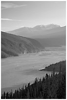 Wide Chitina River and Chugach Mountains. Wrangell-St Elias National Park, Alaska, USA. (black and white)