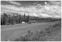 Airstrip at the end of Nabesna Road. Wrangell-St Elias National Park, Alaska, USA. (black and white)
