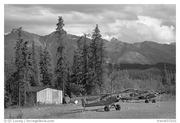 Bush planes at the end of Nabesna Road. Wrangell-St Elias National Park (black and white)