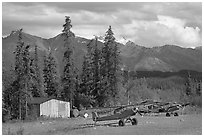 Bush planes at the end of Nabesna Road. Wrangell-St Elias National Park, Alaska, USA. (black and white)