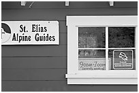 Mountain guide office with interesting signs. Wrangell-St Elias National Park ( black and white)