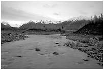 Kenicott River and Wrangell Mountains. Wrangell-St Elias National Park, Alaska, USA. (black and white)