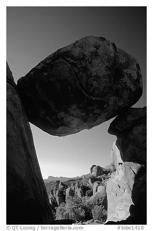 Balanced rock in Grapevine mountains. Big Bend National Park (black and white)