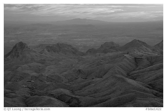 View from South Rim over bare mountains, sunset. Big Bend National Park (black and white)