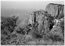 Cliffs and desert from top of South Rim. Big Bend National Park ( black and white)