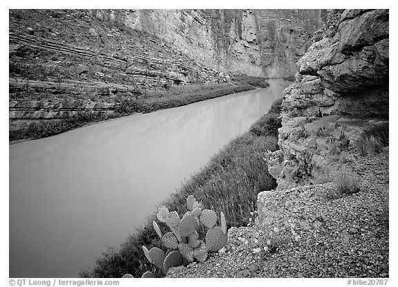 Rio Grande in Santa Elena Canyon. Big Bend National Park (black and white)