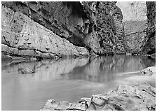 Rio Grande and cliffs in Santa Elena Canyon. Big Bend National Park, Texas, USA. (black and white)