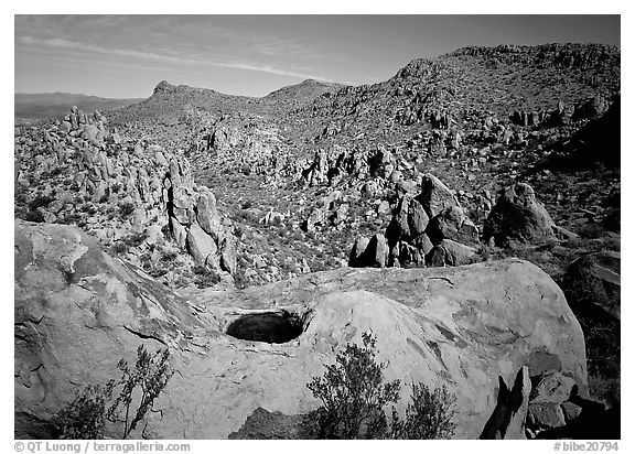 Valley with boulders in Grapevine mountains. Big Bend National Park (black and white)