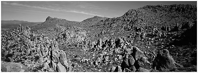 Valley strewn with rock boulders, Grapevine Mountains. Big Bend National Park (Panoramic black and white)