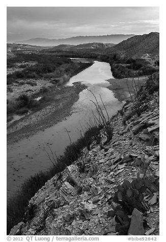 Rio Grande River and Sierra de San Vicente mountains, sunset. Big Bend National Park (black and white)