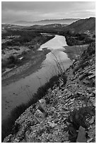 Rio Grande River and Sierra de San Vicente mountains, sunset. Big Bend National Park ( black and white)