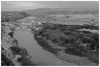 Rio Grande River and Sierra Del Carmen mountains, dusk. Big Bend National Park ( black and white)