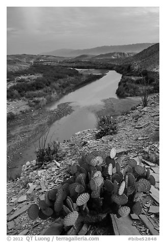 Rio Grande Wild and Scenic River, dusk. Big Bend National Park (black and white)