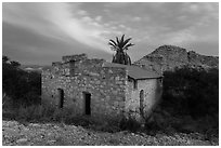 Historic bath house at dusk. Big Bend National Park, Texas, USA. (black and white)