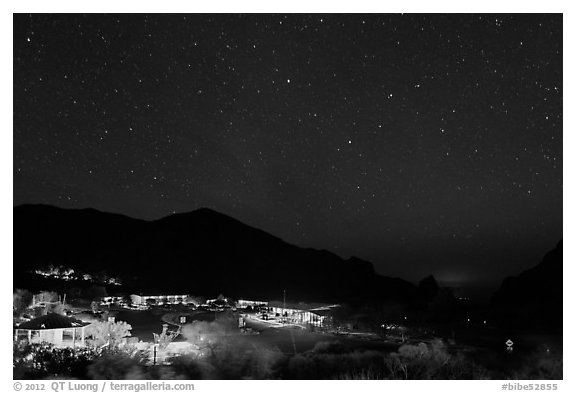Chisos Mountains Lodge and stars at night. Big Bend National Park (black and white)