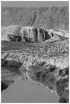 Rio Grande River and Sierra de San Vicente. Big Bend National Park ( black and white)