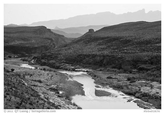 Rio Grande River canyon and Sierra del Carmen. Big Bend National Park (black and white)