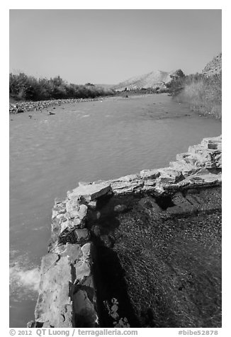 Hot Springs next to Rio Grande River. Big Bend National Park (black and white)