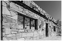 Ruins of historic bathhouse. Big Bend National Park, Texas, USA. (black and white)