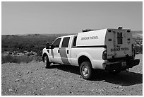 Border Patrol truck. Big Bend National Park, Texas, USA. (black and white)