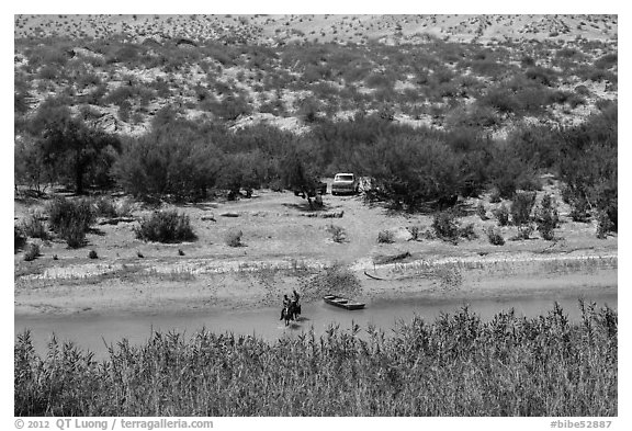 Border crossing. Big Bend National Park (black and white)