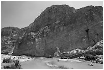 Canoes in Boquillas Canyon. Big Bend National Park, Texas, USA. (black and white)
