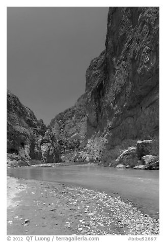 Rio Grande River, Boquillas Canyon. Big Bend National Park (black and white)