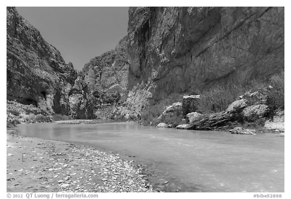 Boquillas Canyon of the Rio Grande River. Big Bend National Park (black and white)