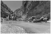 Boquillas Canyon of the Rio Grande River. Big Bend National Park ( black and white)