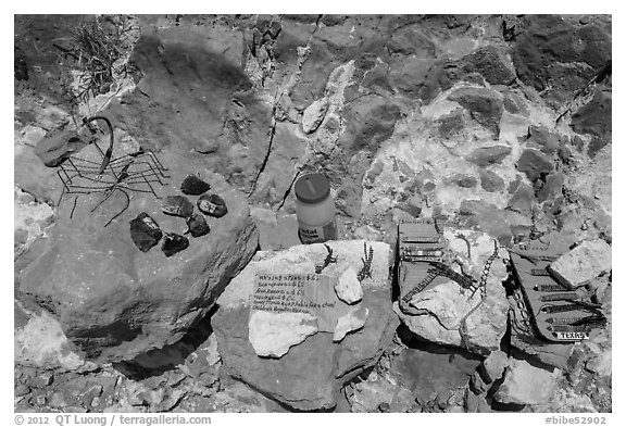 Honor system stand with Boquillas wares. Big Bend National Park (black and white)