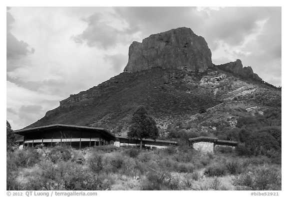 Chisos Mountain Lodge. Big Bend National Park (black and white)