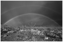 Double rainbow over Chihuahuan desert. Big Bend National Park, Texas, USA. (black and white)