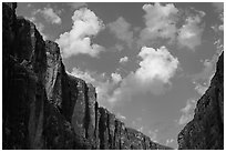 Santa Elena Canyon limestone walls and clouds. Big Bend National Park, Texas, USA. (black and white)