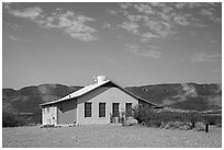 Castolon house and Sierra Ponce Mountains. Big Bend National Park, Texas, USA. (black and white)