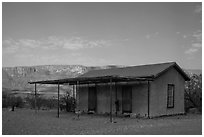 Historic custom house, Castolon. Big Bend National Park, Texas, USA. (black and white)