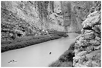 Rafters in Santa Elena Canyon of the Rio Grande. Big Bend National Park, Texas, USA. (black and white)