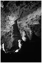 Hall of Giants with six stories tall formations. Carlsbad Caverns National Park ( black and white)