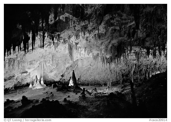 Papoose Room. Carlsbad Caverns National Park (black and white)