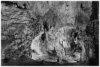 Alcove with delicate speleotherms. Carlsbad Caverns National Park ( black and white)